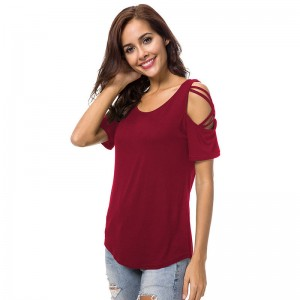 Sexy Hollow Out Short Sleeve T Shirt for Women Tops Tees Casual Solid O Neck Basic T Shirt Women Cotton T Shirt