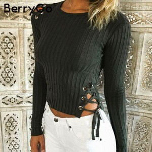 Sexy lace up knitting pullover Fashion black autumn winter sweater women Casual cold shoulder elastic streetwear jumper