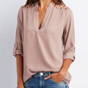 Sexy Off Shoulder Hollow Chiffon Shirt Women V Neck Long Sleeve Blouse Autumn Slim Sexy Blouse Shirt