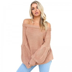 Sexy off Shoulder Knitted Sweater Women Brand Pullovers Knitwear Lantern Sleeve Autumn Winter Jumper Sweater