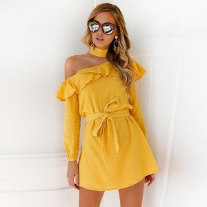Sexy One Shoulder Dress High Neck Party Dress Club Bodycon Dress Bandage Autumn Ruffles Yellow Women Dress