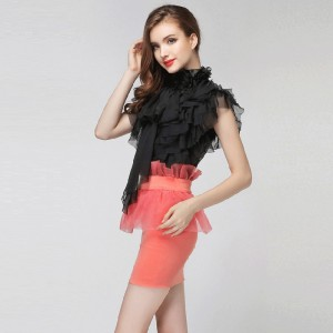 Sexy See Through Short Chiffon Shirt 3D Floral Stand Collar Multilayer Ruffles Sleeveless Vintage OL Chiffon Blouse