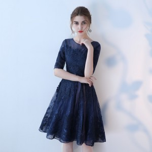 Short A Line Prom Dresses With Lace Sleeve Cheap Elegant Evening Party Dress Special Occasion Styling Gowns