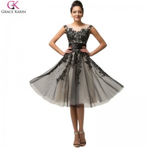Short Prom Dress Grace Karin Satin Tulle Bead Sequin Cap Sleeve Sheer Formal Gowns Bridal Wedding Party Dress Prom
