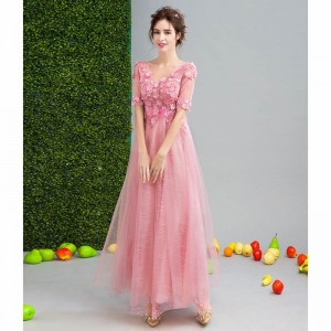 Short Sleeve V Neck Evening Party Gowns Flower Pattern Vintage Crystal Tulle Charming Evening Dress Female Formals
