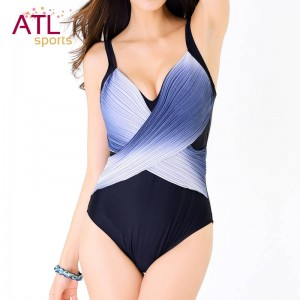Slimming V Neck Plus Size Swimsuits Push Up One Piece Bathing Suits Patchwork Padded Trending Bikini