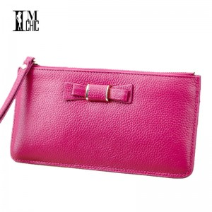 Soft Genuine Leather Women Clutches Sweet Bow Top Layer Cowhide Organizer Purse Cash Card Clutches For Women Thumbnail