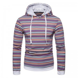Sports Men Colorful Stripe Hoodies Casual Hooded Long Sleeve Sweatshirt Top 2019 Fashion Autumn Winter Hoody