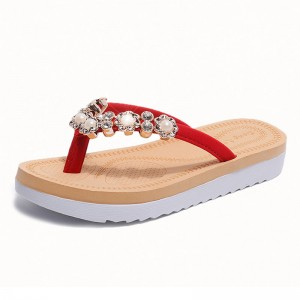 String Bead 2018 New Flip Flops Fashion Solid Women Shoes Rubber Platform Slip on Summer Slippers Shoes Women
