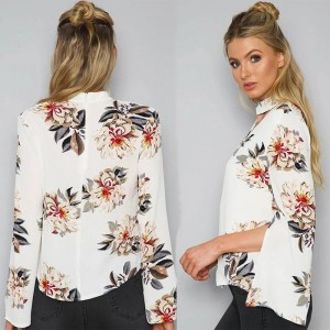 Summer Autumn Blouses Sexy Halter V Neck Loose Long Flare Sleeve White Blouse Shirt Print Floral Fashion Blusas Tops