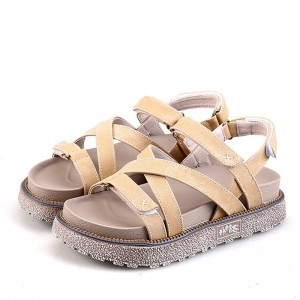Summer Gladiator Sandals Comfort Flats Casual Creepers Platform Canvas Shoes Woman Plus Size 35 43 Sandals