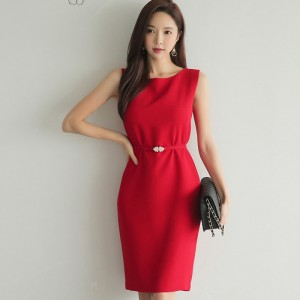 Summer Mid Length Work Business Pencil Dress Women Sashes High Waist OL Dress Elegant Party vestidos femme 2019