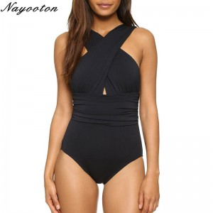 Summer Sexy Style Bikini One Piece Swimsuit Black Red Solid Color Cross Halter Beach Bathing Suits For Ladies