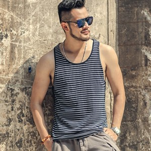 Summer Slim Casual Fashion Cotton Striped Tank Tops Men Bodybuilding New Sleeveless Singlets Brand Undershirt Vest