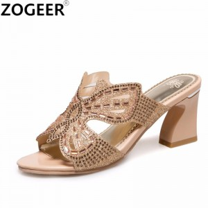 Summer Thick High Heel Slippers Fashion Luxury Rhinestone Sandals Causal Flip flops Beach Shoes Woman Gold Plus size
