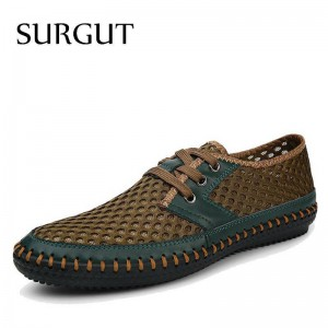Surgut Brand New Real Genuine Leather Men Casual Shoes Summer For Men Thumbnail