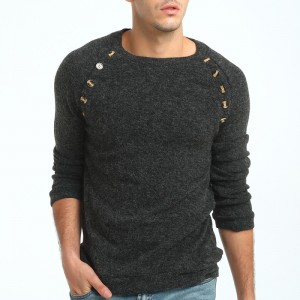 Sweater Pullover Men Male Brand Casual Slim Sweaters Men Button Splicing Solid Color Hedging Turtleneck Sweater