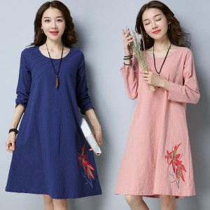 Sweet Simple Cotton Linen Autumn Dress Loose Knee Length Pretty Vintage Embroidery Dress Mini Dress For Women