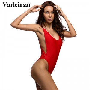 Swimming Suit For Women Red Bodysuit Sexy High Cut One Piece Swimsuit Backless Swimwear Bathing Suit Women Thumbnail