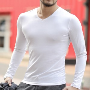 T shirt men cotton long sleeve basic solid brand T shirt elastic Mens sexy V neck slim bottoming long sleeved Tees