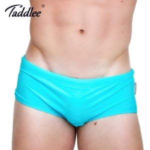Taddlee Blue Mens Swimwear Swimsuits Nylon Swim Briefs Bikini Solid Color Swimming Board Trunks