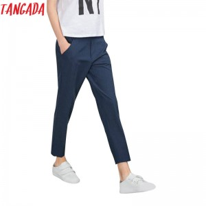 Tangada Fashion Women Elegant Blue Striped Pants Elastic Waist Pockets Casual Trousers Women Thumbnail