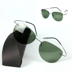 Titanium Frame Rimless Polarized Sunglasses Light Driving Comfortable For Men Thumbnail