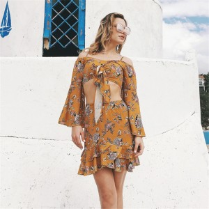 Top And Skirt Set For Women New Summer Style Two Piece Set Long Sleeve Irregular Top Mini Dress For Women