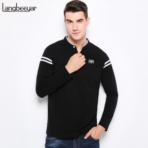 Top Quality New Fashion Clothing T Shirt Men Mercerized Cotton Slim Fit Long Sleeve T Shirt Men Mandarin Collar Tees