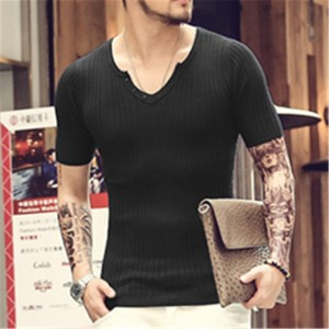 Tops Tees Short Sleeve T Shirts Brand Fashion Slim Fit Sexy V Neck Knit Thin T Shirt Men 2018 Mens Shirts