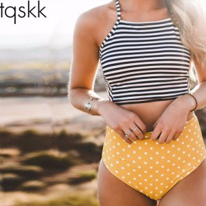 TQSKK Sexy Bikini Stripe Women High Waist Swimsuit Female Bandage Swimwear Cross Bikini Set Summer Swim Wear
