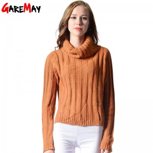 Turtleneck Sweaters For Women Loose Knitted Long Sleeve Autumn Pullover For Women