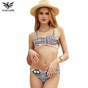 Two Piece Sexy Swimsuit For Women Designer Push Up Low Waist Customized Sexy Bikini Bandeau Retro Swimwear