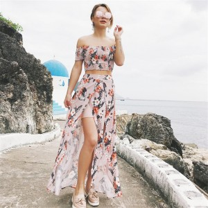 Two Piece Summer Outfit Cropped Top And Skirt Maxi Beach Style Dress Irregular Skirt Elastic Short Sleeve Tops