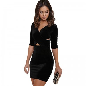 V Neck Velvet High Chest Bodycon Dress Latest Design For Women New Thumbnail
