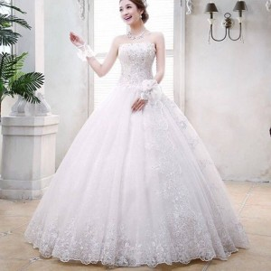Vintage Bridal Dress A Line Bride Gown Embroidery Dress Sleeveless Long Dress Marriage Dress For Women Thumbnail