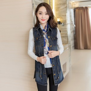 Vintage Fashion Summer Autumn Denim Jacket Sleeveless Cardigan Ladies Jeans Waistcoats New Arrival Spring Denim Vests