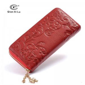 Vintage Genuine Leather Women Purse Wallet Floral Pattern Zipper Long Cowhide Wallet For Ladies Thumbnail