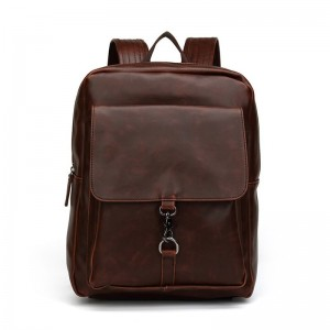 Vintage Style Backpack Men Large Capacity Laptop Shoulder Bag PU Leather School Bags Zipper Casual Bags Travel Bag Male
