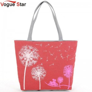 Vogue Star Hot Sale New Fashion Dandelion Canvas Bags Flower Bags Handbags Shoulder Bags For Women Thumbnail