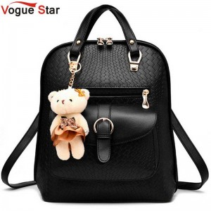 Vogue Star New Casual Backpacks Pu Leather Fashion Women School Bags For Girls With Bear Doll Thumbnail