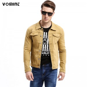 Vomint Autumn Mens Denim Jackets Multi Color Stretch Elasticity Fabric Washed Denim Streetwear Fashion Blue Yellow