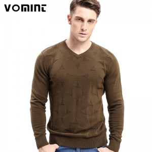 Vomint Brand Cotton Mens Sweaters V neck Top Dyed Sweaters Pullover man Solid Color Class Style Knitwear
