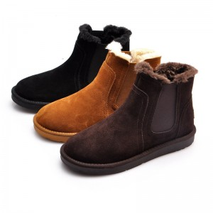 Warm Fur Snow Men Chelsea Boots Fashion Suede Slip On Ankle Snow Male Shoes Teenager Non Slip Footwear
