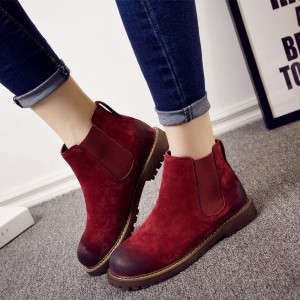 Warm Winter Boots Pure Leather Ankle Boots Slip On Creepers Casual Flat Heel Female Shoes Ladies Footwear