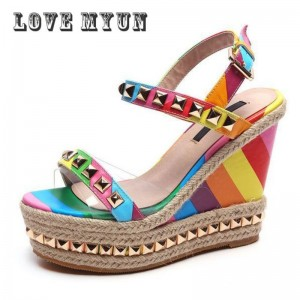 Wedge Sandals Rainbow Ethnic High Heeled Leather Shoes Women Fish Head Rivet Party Sandals Girls Glitter Platform