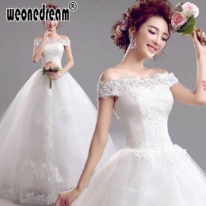 Weonedream Charming Design Embroidery Organza Bridal Dress A Line Bride Princess Boat Neck Ball Gown Women Thumbnail