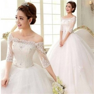 Weonedream Half Sleeve Beading Wedding Dress Ball Gown Wedding Dress Elegant Princess Style Dress For Women Thumbnail