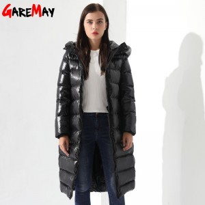 Winter Down Jacket For Women Doudoune Femme Long Feather Jacket Hooded Down Coats Women Parkas Black Outwear