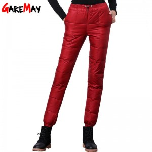 Winter Down Pants Casual Outwear Elastic Snow Wear Thick Trousers For Women Thumbnail
